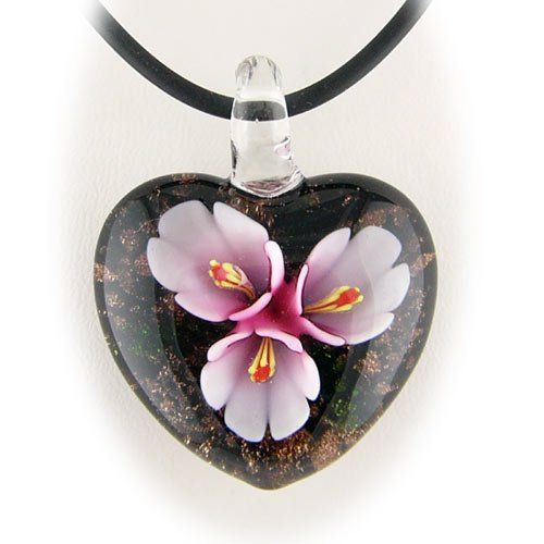 Murano Glass Violet Flower Heart Pendant Rubber Cord Necklace 925 Sterling Silver Clasp 16 inch Pendants by Joyful Creations. $9.99. Beautiful handmade Murano-style glass pendant. Rubber cord finished with sterling silver ends and clasp; imported from Italy