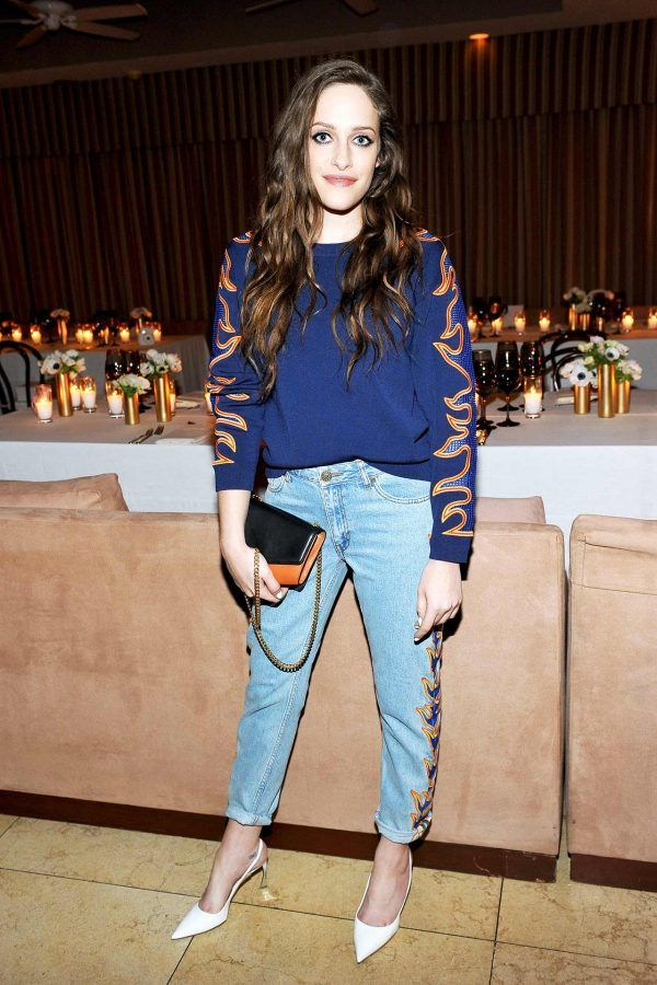 Carly Chaikin - A flame-embroidered jean and sweatshirt pairing takes this casual ensemble into fashion-girl territory.