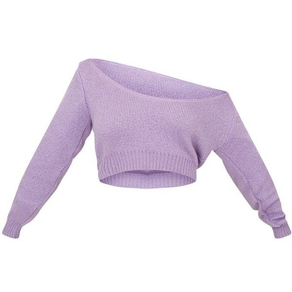 bd010461057 Adelaida Dusty Blue Off Shoulder Knitted Crop Jumper ($18) ❤ liked ...