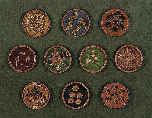 Various Ganjifa cards from Dashavatara set, with ten suits depicting the ten Avatars of the god Vishnu