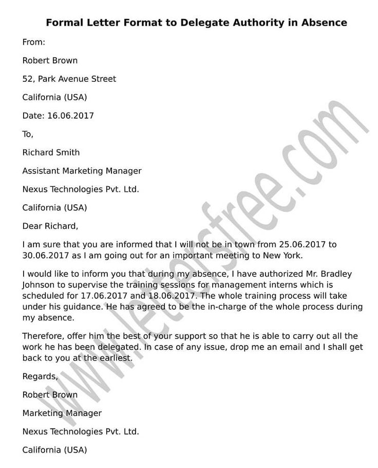 Free Sample Letters Business Letter Format Examples And Templates Delegate Authority Absence
