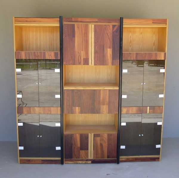 Canadian Exotic Wood Display Cabinet With Black Glass Doors