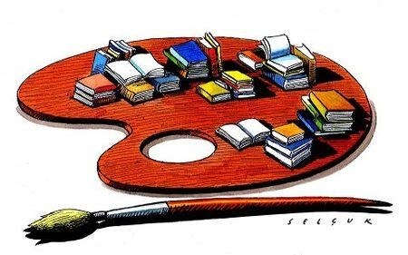 Paleta de libros de todos los colores. Pintando la lectura (ilustración de Selçuk Demirel)