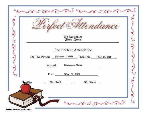 This printable certificate honoring perfect attendance at school features a red apple atop a book. Free to download and print
