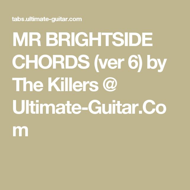 how to play mr brightside on guitar chords