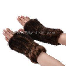 100% véritable fait main tricot vison fourrure gants pour femme fashion manteau d'hiver