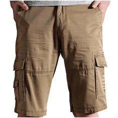 #Banggood Плюс размер 30-44 свободные большие карманы грузовые шорты хлопок сплошной цвет мужчины шорты пляжные брюки (1078602) #SuperDeals