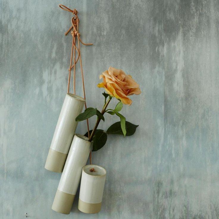 Leather String Ceramic Hanging Vases