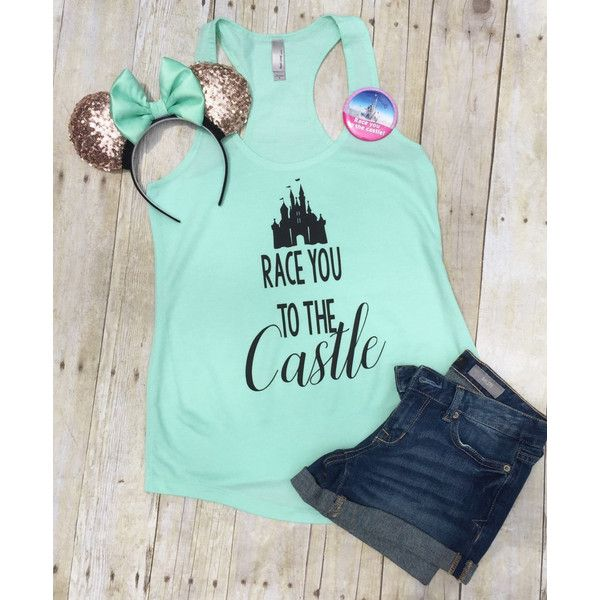 Disney Shirt Race You to the Castle Disney Disney Family Shirt Run... ($23) ❤ liked on Polyvore featuring black, tanks, tops, women's clothing and racerback jersey