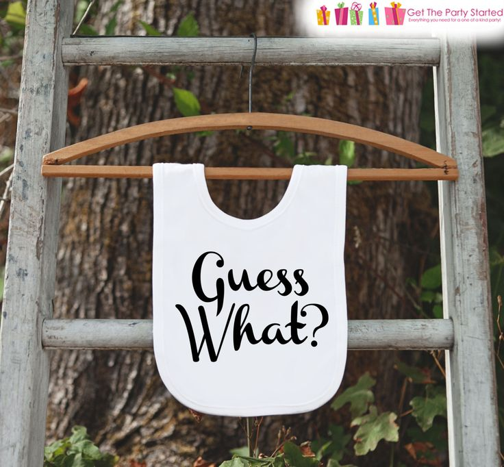 Pregnancy Announcement - Guess What? Bib for New Baby - Pregnancy Reveal Idea - Baby Bib Announcement - Suprise New Grandparents - Baby Bib