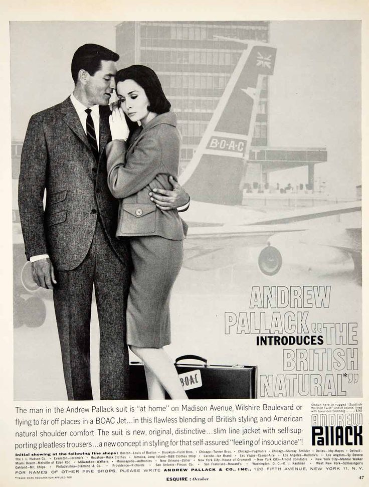 1960 Ad Vintage Andrew Pallack Business Suit Mad Men Executive Fashion 60s Style