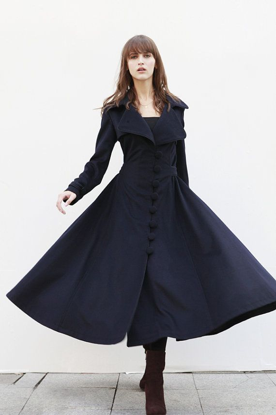 Navy Blue Coat Big Sweep Women Wool Winter Coat Long Jacket Tunic / Fast Shipping - NC418