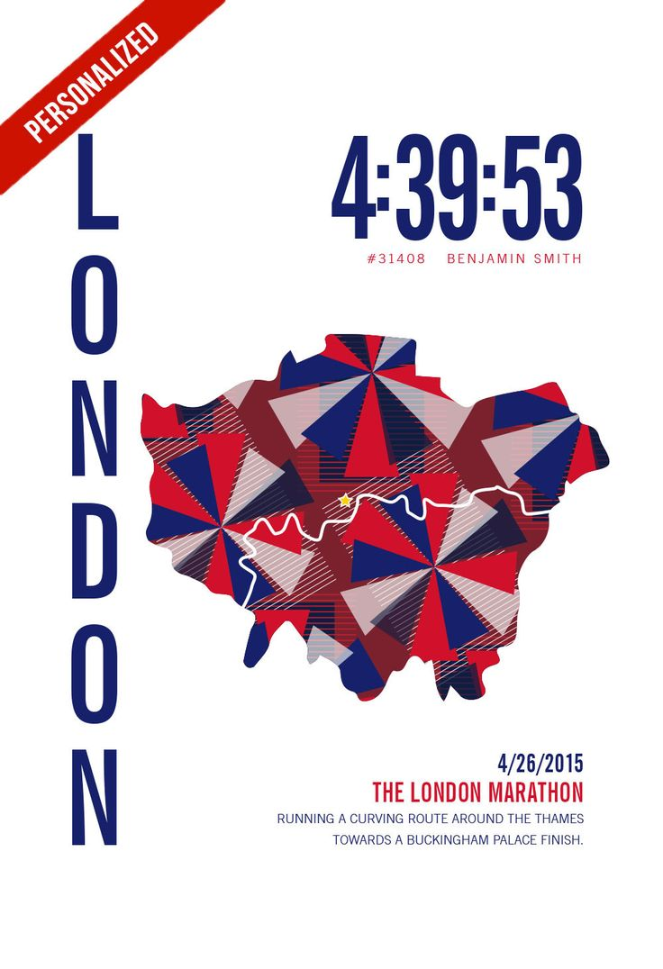 London Marathon Map Print