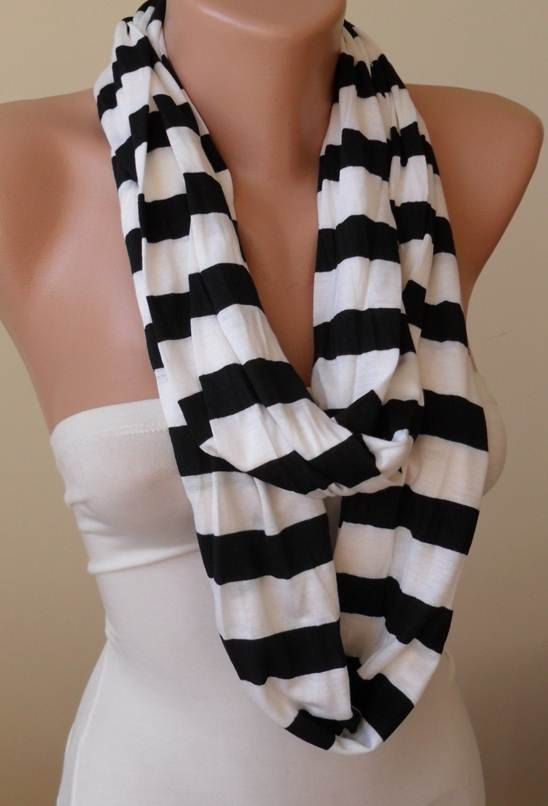 New Scarf Black and White Striped Infinty Circle by SwedishShop 15  Fashion Scarf Mother's Love