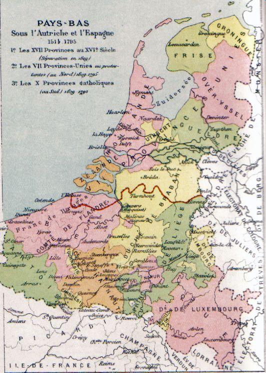 Kaart van de Zeventien Provinciën met in rood de lijn de van de scheiding tussen de Noordelijke en de Zuidelijke Nederlanden in 1648.