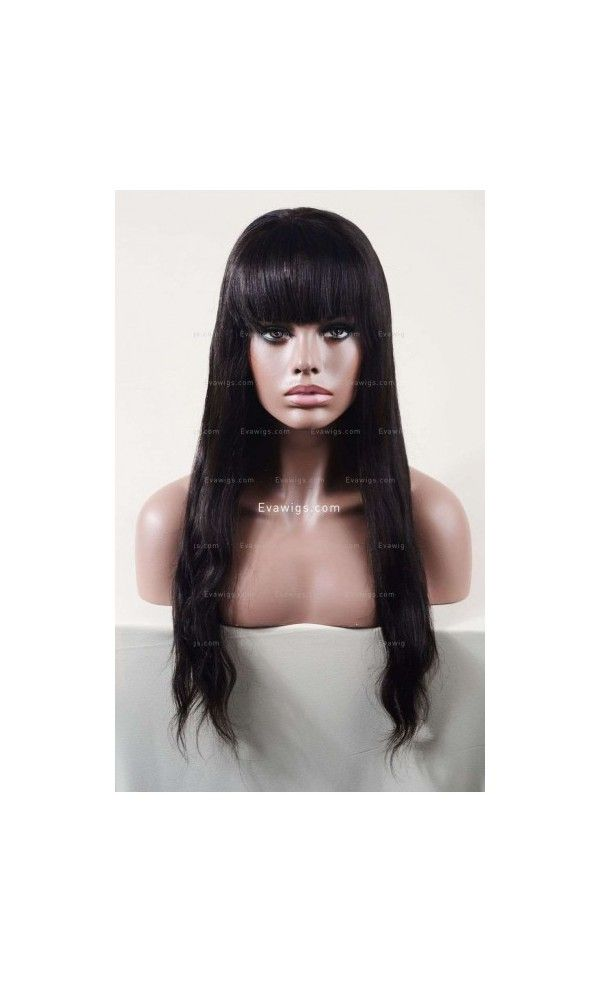 Best Human Hair Wigs in 2017 - Long Straight Full Lace Human Hair Wig with Bangs - BEST05 - Best Human Hair Wigs in 2017 - EvaWigs