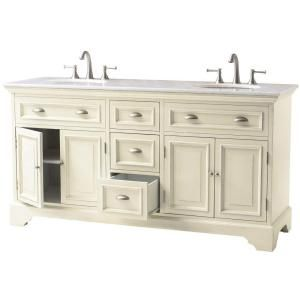 Home Decorators Collection Sadie 67 In Double Vanity In Antique Cream With Marble Vanity Top In