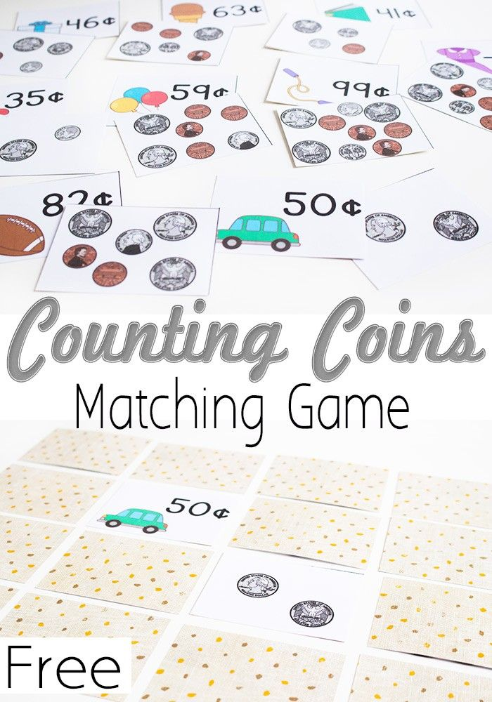 Free Printable Money Matching Game: Counting Coins - helps kids understand value of money