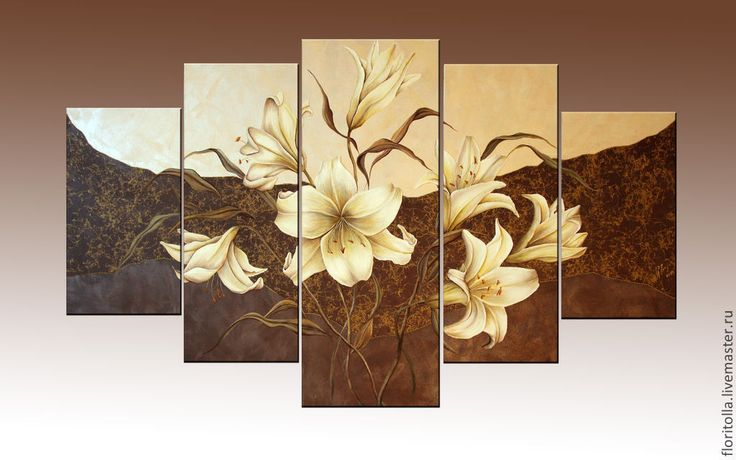 """Купить Объемная фреска """"Лилии"""" - бежевый, объемная фреска, белые лиии, модульная картина"""