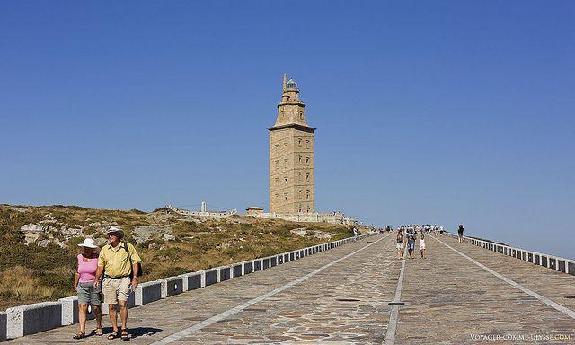 La Tour d'Hercule, plus vieux phare en activité du monde. La Corogne, Galice, Espagne.