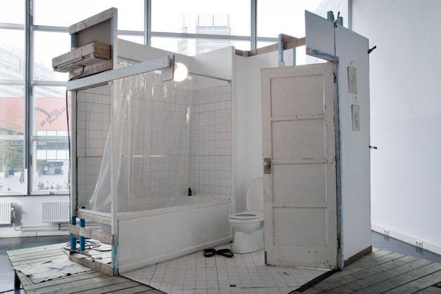 """The Portable Psycho Shower Scene Stage Set Party, Part I-V"" sculpture 2010-12."