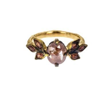 Cathy Waterman - Rustic Diamond Marquise Leaf Ring with Sapphires in Designers Cathy Waterman Rings at TWISTonline