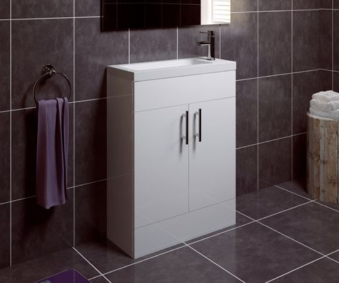 Thorpe White 600 Cloakroom Freestanding Vanity Unit With