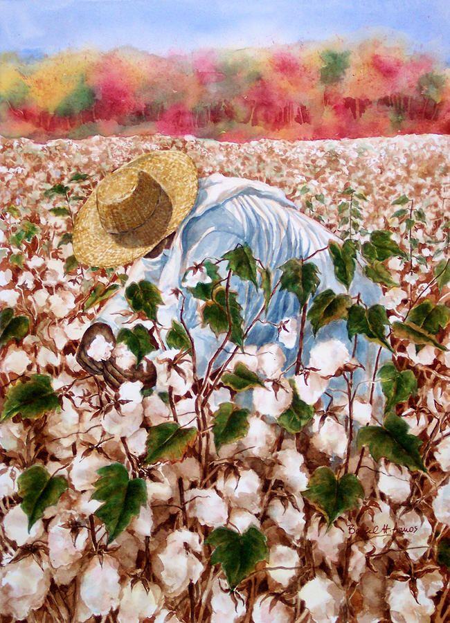 Picking Cotton Painting - Picking Cotton Fine Art Print - Barbel Amos