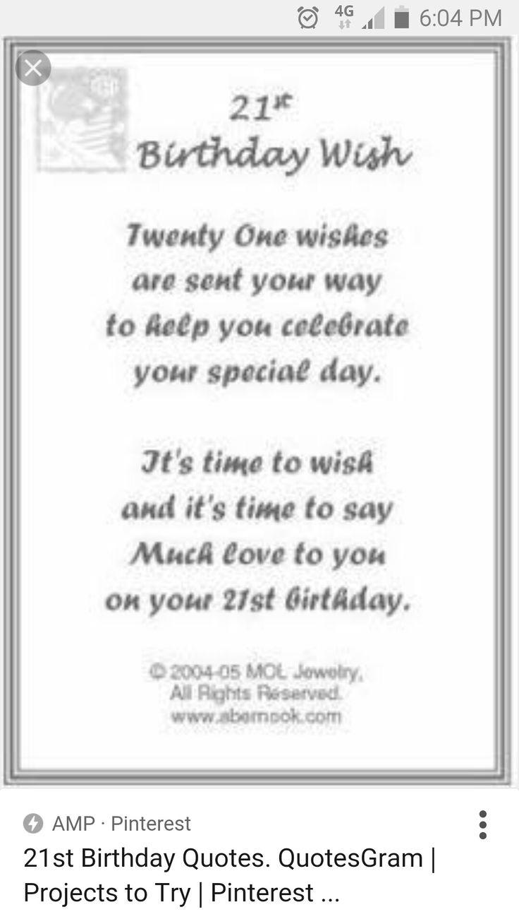 21st Birthday Wish