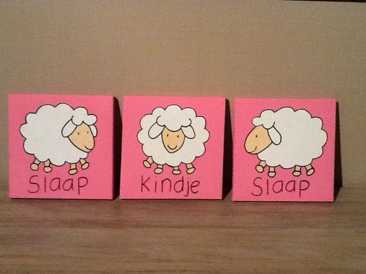 Kinderschilderij Slaap Kindje Slaap, roze €15 www.easywebshop.com/kinderschilderijen