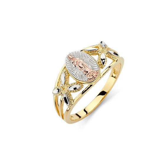 14k Tricolor Our Lady Of Guadalupe Ring Religious Jewelry Gold