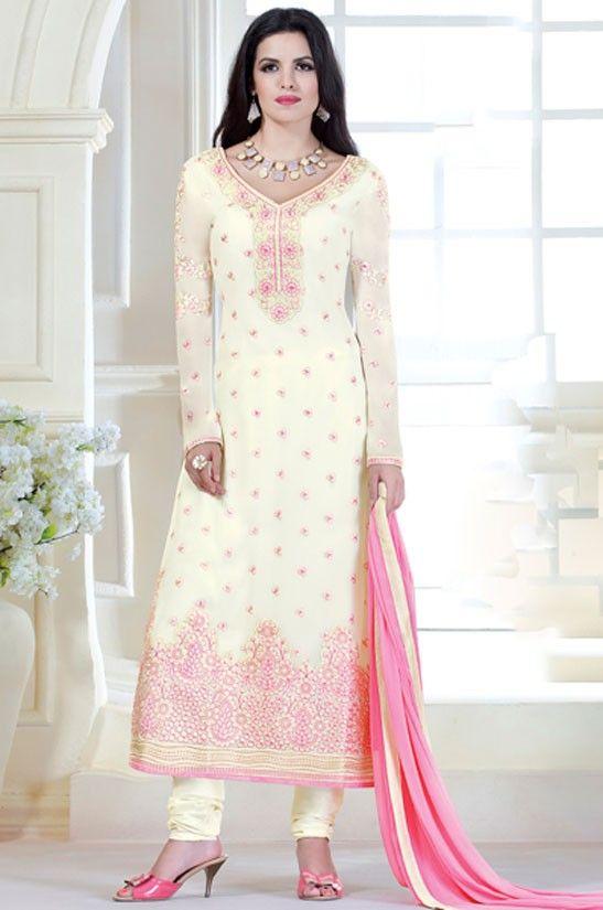 Sensational Cream Churidar Kameez Suit