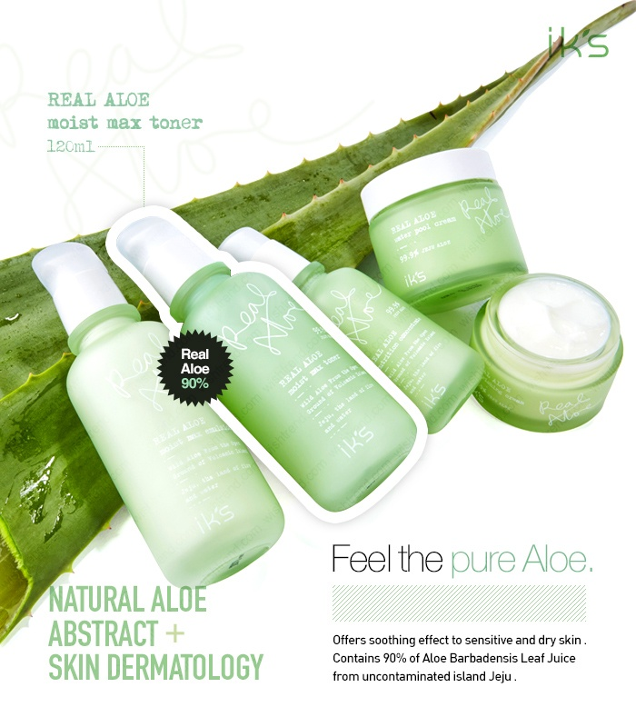 [IKS] Real Aloe : Moist Max Toner  Natural Aloe Abstract + Skin Dermatology Feel the Pure Jeju Aloe Contains 90% of Aloe Barbadensis Leaf Juice from Jeju   + Soothing + Hydration + Control PH Balance + Anti-Bacterial   + No benzophenone + No animal ingredients    Brand : IKS Volume : 120ml All Skin Types (Oily Skin, Trouble Skin) Made in Korea by $15.99