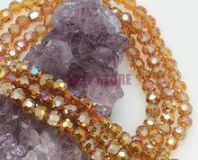 Gratis verzending! 100 stuks pauw bruin ab vergulde kristallen glazen gefacetteerde ronde bal naai de kristal kralen 6mm voor decoratie(China (Mainland))