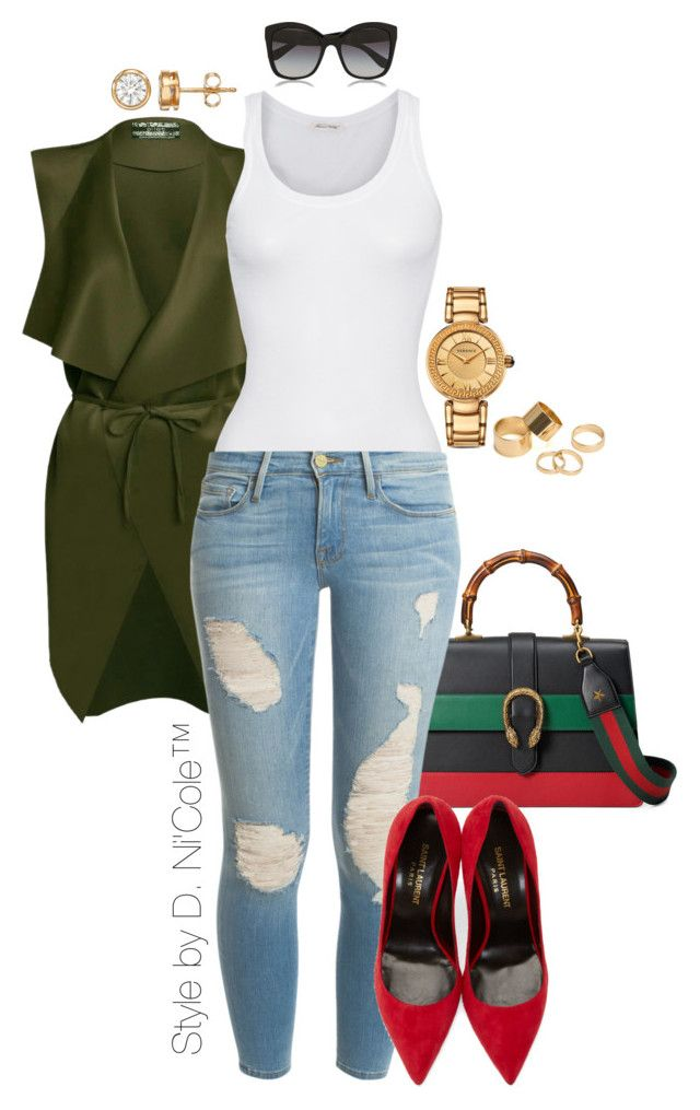 """Untitled #3278"" by stylebydnicole ❤ liked on Polyvore featuring Gucci, American Vintage, Frame Denim, Yves Saint Laurent, Versace, Pieces and Dolce&Gabbana"