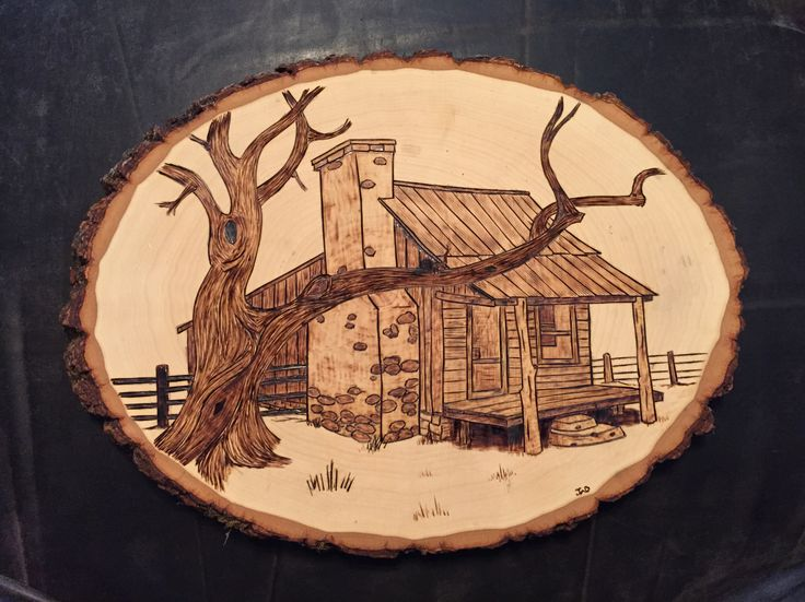 Old House wood burnt art