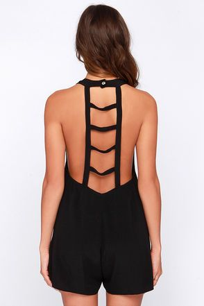 Cute Black Romper - Lattice Romper - Sleeveless Romper - $83.00