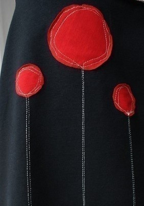 poppies on a black skirt For idea only