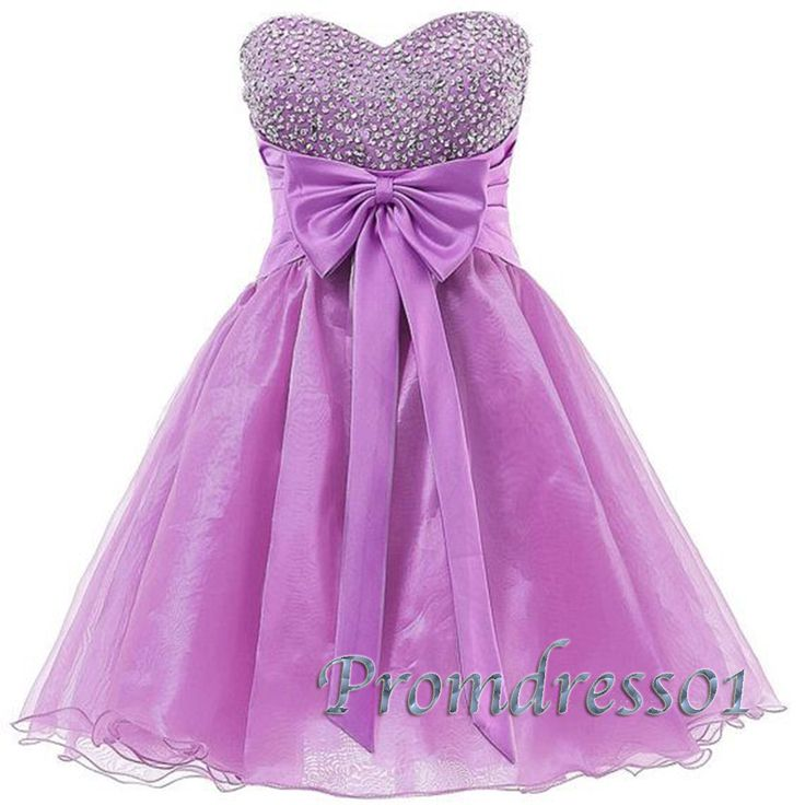 2015 cute sweetheart purple organza beaded mini prom dress for teens, homecoming dress,ball gown,evening dress, party dress #promdress #coniefox #2016prom