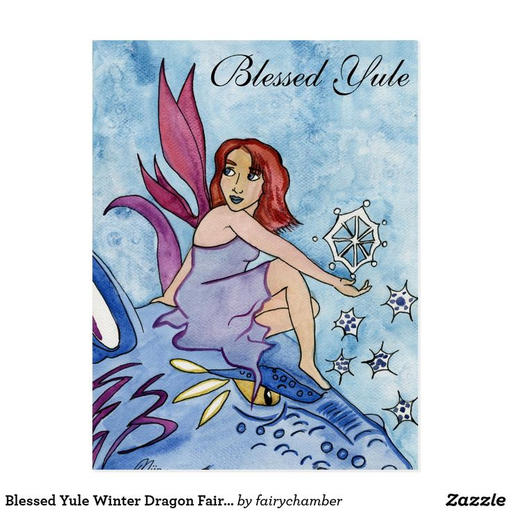 Blessed Yule Winter Dragon Fairy Postcard