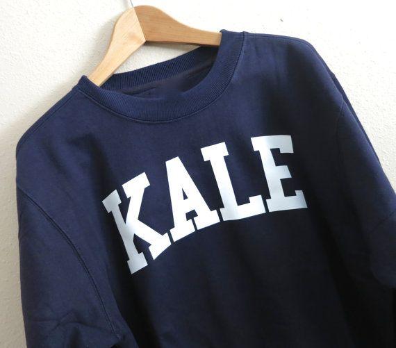 Kale Sweatshirt.    Sweatshirt color :  Red  Black  Navy  Burgundy  Dark Gray  Heather Gray  Irish Green    Unisex Sweatshirt Size :  Small  Medium