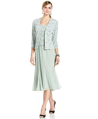 Alex Evenings Sleeveless Sequin Jacquard Dress and Jacket