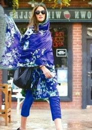 Party Wear Blue Cotton Printed Straight Suit