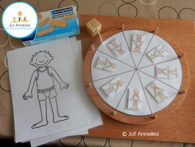 Spel draairad Jules : pleisters kleven op het lichaamsdeel dat is aangeduid. (Juf Annelies)