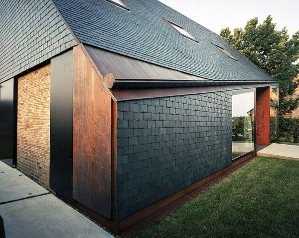 Slate, Steel, Brick - Wonderful Combination --   pierre hebbelinck modern house design