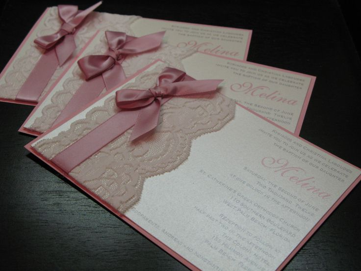 Laced invitation with a musical flower instead of bow