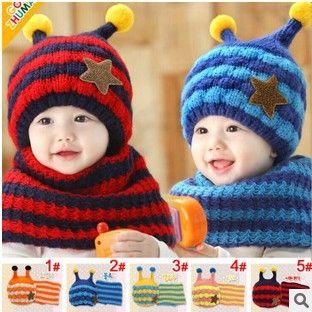 (1 set = 1 cap + 1 sjaal) kind winter cap sjaal kids bee patroon gebreide cap met oorklep warme muts voor 1-4 jaar ll0202(China (Mainland))