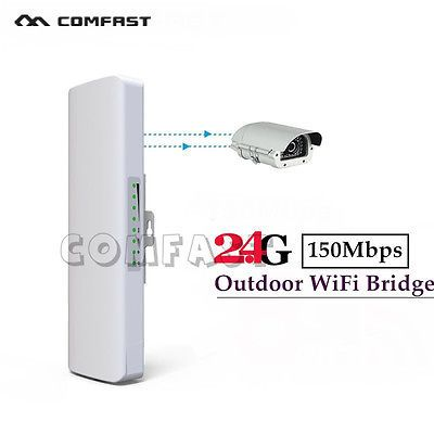 ﹩48.99. Outdoor Wireless Access Point High Power AP WiFi Bridge Router CPE USA Stock   Network Connectivity - Wireless-Wi-Fi 802.11b, Max. Wireless Data Rate - 150Mbps, Frequency Range  Channels - 2.3~2.7GHz;5MHz,10MHz,20MHz,40MHz, Support Protocols - CSMA/CA, TCP/IP, IPX/SPX, NetBEUI, DHCP, NDIS3/4/5, Encryption - Support 64/128 bits WEP, WPA, WPA2, 802.1X, Color - White, Waterproof - Yes, Based on WEB Management - Support, SNMP MIB - Support, Telnet - Support, MAC Address Control