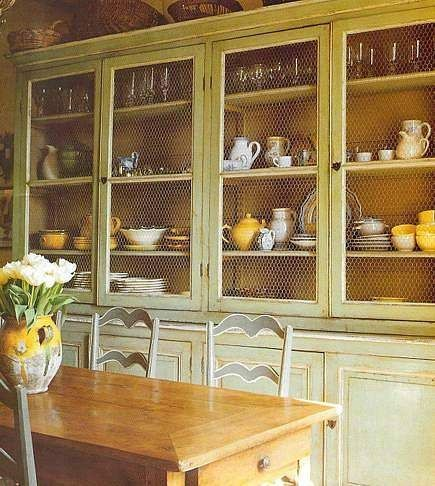 chicken wire instead of glass... not breakable but still shows off pretty dishes: Dining Rooms, Design Inspiration, Chicken Wire Cabinets, Country Living, French Country, Wall United, Kitchens Cabinets, Country Interiors, Cabinets Doors