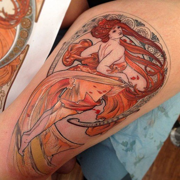 Pin By Mary Quinn On Tattoo Ideas Art Nouveau Tattoo Art Deco Tattoo Nouveau Tattoo